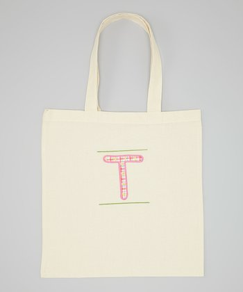 Natural & Pink Initial School Tote