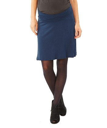 Navy Blue Ivane Under-Belly Maternity Skirt