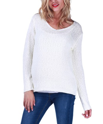 Ivory Knit Maternity Sweater