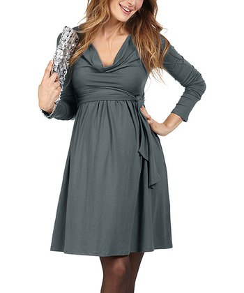 Gray Bulle Maternity Drape Dress