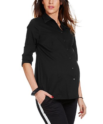 Black Cori Maternity Button-Up