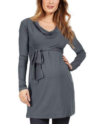 Gray Devon Maternity Drape Tunic