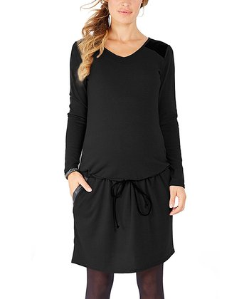 Black Dorothee Maternity Drop-Waist Dress