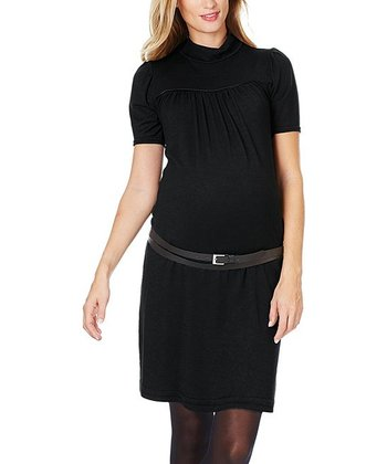 Black Felixa Maternity Mock Neck Dress