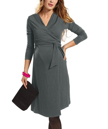 Gray Resa Maternity Wrap Dress