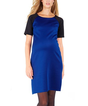 Blue Tiana Maternity Boatneck Dress