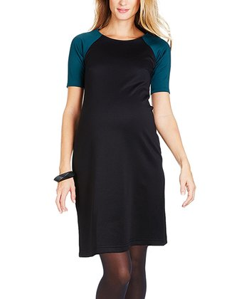 Black Tiana Maternity Boatneck Dress