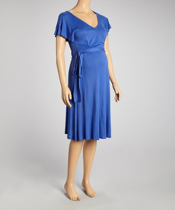 Royal Blue Maternity Short-Sleeve Wrap Dress - Women