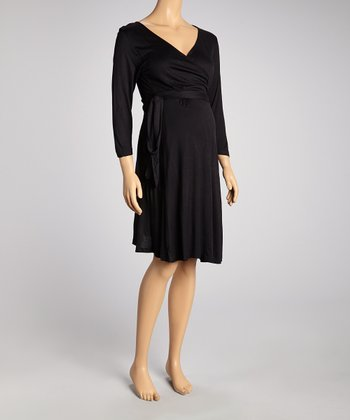 Black Maternity Wrap Dress