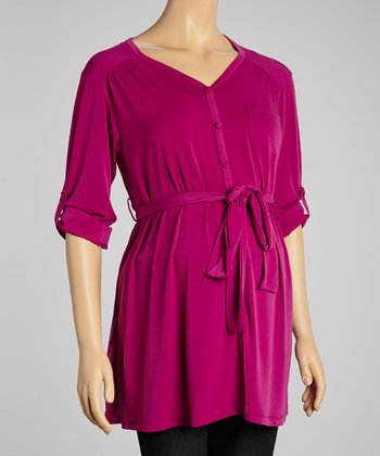 Fuchsia Maternity Button-Up Top - Women