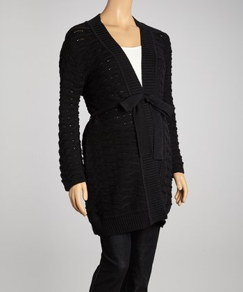 Black Scallop Knit Maternity Open Cardigan