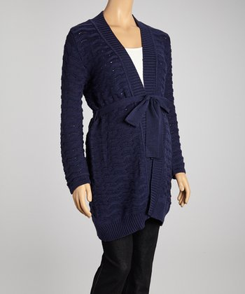 Navy Scallop Knit Maternity Open Cardigan