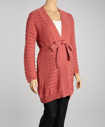 Coral Scallop Knit Maternity Open Cardigan