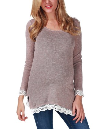 Mocha Crochet-Trim Maternity Sweater