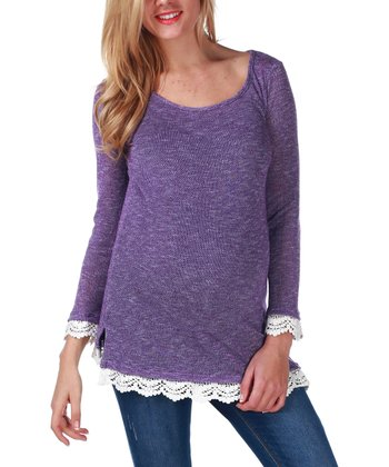 Purple Crochet-Trim Maternity Sweater