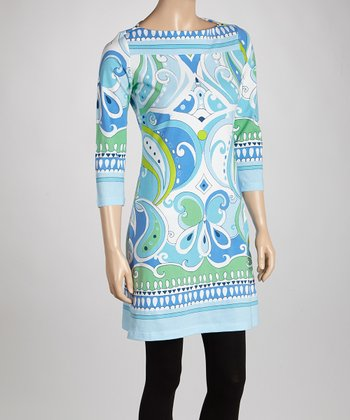 Blue & Green Paisley Boatneck Tunic