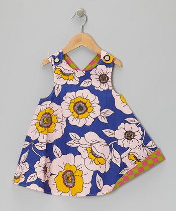 Blue Floral Harlequin Reversible Jumper - Infant, Toddler & Girls