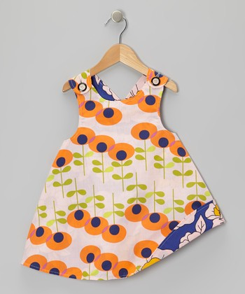 Orange Floral Reversible Jumper - Infant, Toddler & Girls
