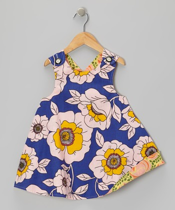 Blue & Yellow Rose Reversible Jumper - Infant, Toddler & Girls