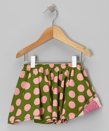 Green & Pink Polka Dot Reversible Skirt - Infant, Toddler & Girls
