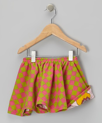 Pink & Green Check Reversible Skirt - Infant, Toddler & Girls