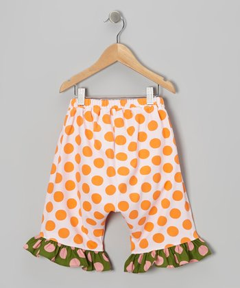 Orange Polka Dot Harem Capri Pants - Infant, Toddler & Girls