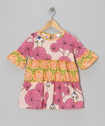 Pink & Orange Rose Owl Tiered Dress - Infant, Toddler & Girls