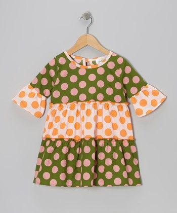 Orange & Green Polka Dot Tiered Dress - Infant, Toddler & Girls