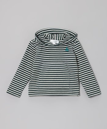 Green & White Stripe Ribbed Hoodie - Toddler