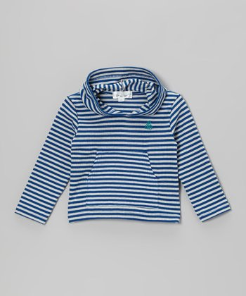 Blue & White Stripe Ribbed Hoodie - Toddler