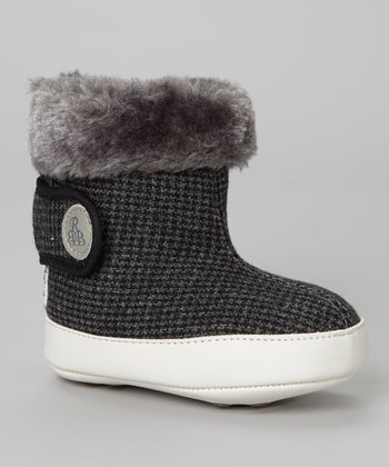 Black & Gray Houndstooth Faux Fur Bootie