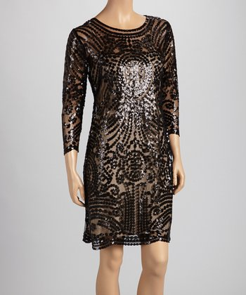 Black Sequin Dress - Women