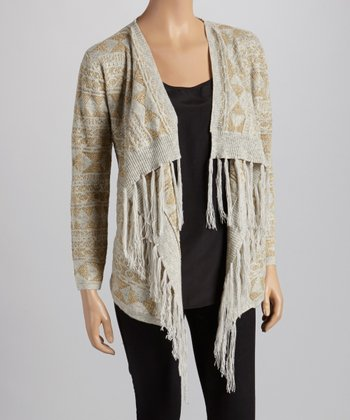 Gray & Gold Fringe Cardigan