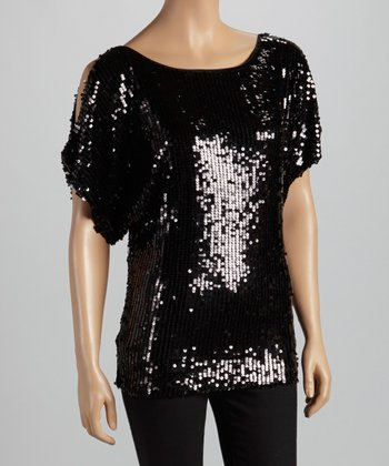 Black Sequin Cutout Top