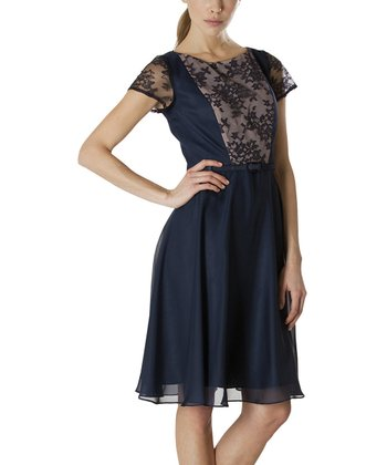 Navy & Nude Metallic Lace Dress - Women