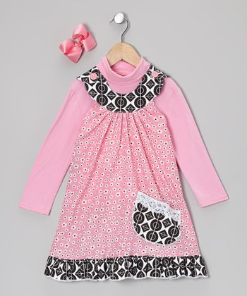 Pink Turtleneck & Daisy Yoke Dress - Toddler & Girls