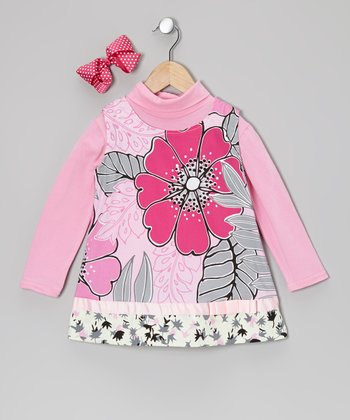 Pink Turtleneck & Floral Bow Dress - Toddler & Girls