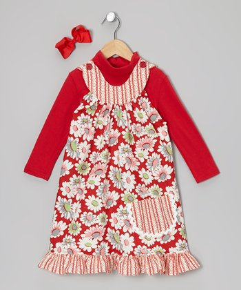Red Daisies Ruffle Yoke Dress Set - Toddler & Girls