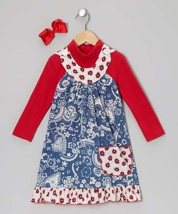 Red Turtleneck & Blue Bandanna Yoke Dress - Toddler & Girls