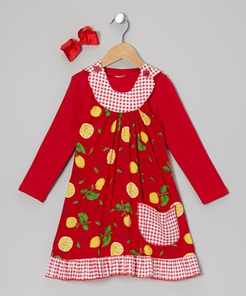 Red Tee & Lemon Yoke Dress - Toddler & Girls