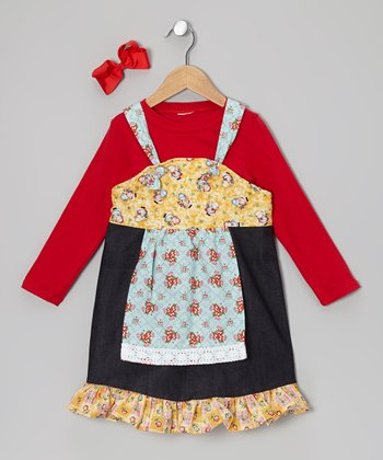 Red Tee & Yellow Bonnet Apron Dress - Toddler & Girls