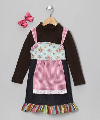 Pink Turtleneck & Country Cutie Apron Dress - Infant & Girls