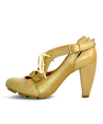 Gold Strata Leather Pump