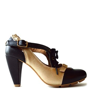 Black & Gold Strata Leather Pump
