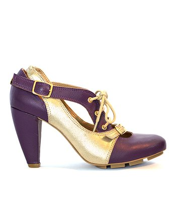 Vino & Gold Strata Leather Pump