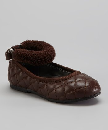 Brown Ankle-Strap Flat