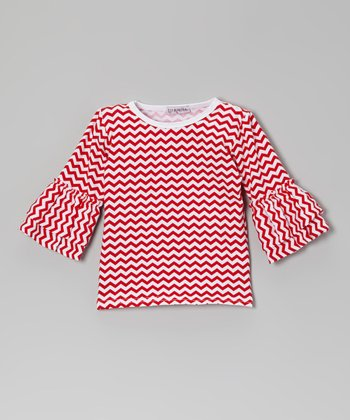 Red Zigzag Ruffle Top - Infant, Toddler & Girls