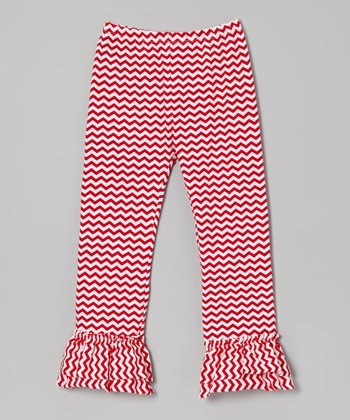 Red Zigzag Ruffle Leggings - Toddler & Girls