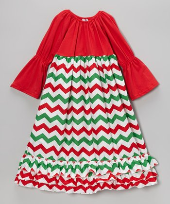 Red & Green Christmas Zigzag Dress - Infant, Toddler & Girls