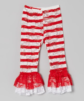 Red & White Stripe Lace Ruffle Leggings - Infant, Toddler & Girls